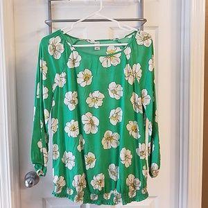 Green flowered top